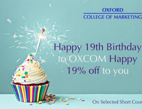 Happy 19th Birthday OXCOM! Celeberate with 19% Off Selected Marketing Short Courses